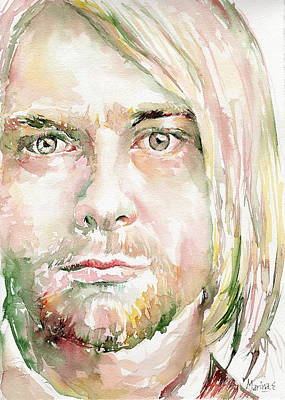 Miles Davis Oil Painting - Kurt Cobain by Marina Sotiriou