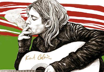 Kurt Cobain Painting - Kurt Cobain Morden Art Drawing Poster by Kim Wang