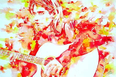 Kurt Cobain Painting - Kurt Cobain Playing Live - Watercolor Portrait by Fabrizio Cassetta