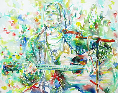 Kurt Cobain Playing The Guitar - Watercolor Portrait Art Print by Fabrizio Cassetta