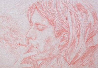 Kurt Cobain Drawing - Kurt Cobain Smoking-pencil Portrait by Fabrizio Cassetta