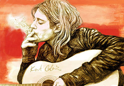 Seattle Mixed Media - Kurt Cobain - Stylised Drawing Art Poster by Kim Wang