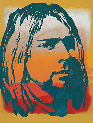 Abstract Drawing - Kurt Cobain - Stylised Pop Art Poster by Kim Wang
