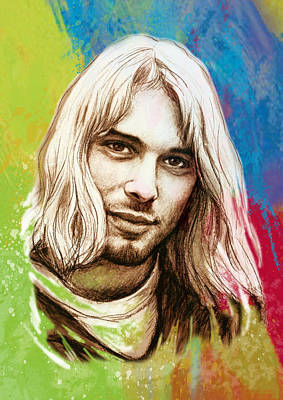 Seattle Drawing - Kurt Cobain Stylised Pop Morden Art Drawing Sketch Portrait by Kim Wang