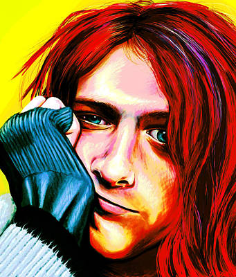 Digital Art - Kurt Cobain - Ultra Color Version by Shawna Rowe