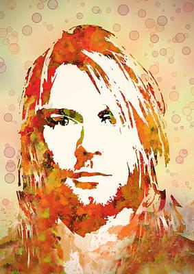 Kurt Cobain Painting - Kurt Cobain Watercolor Painting by Georgeta Blanaru