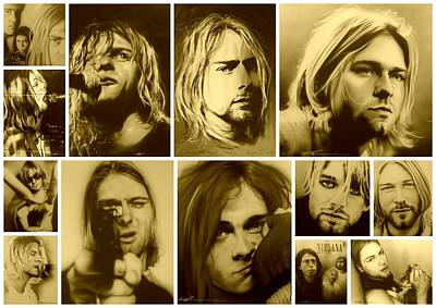 Mosaic Portrait Painting - Kurt Cobain - ' Kurt Mosaic ' by Christian Chapman Art