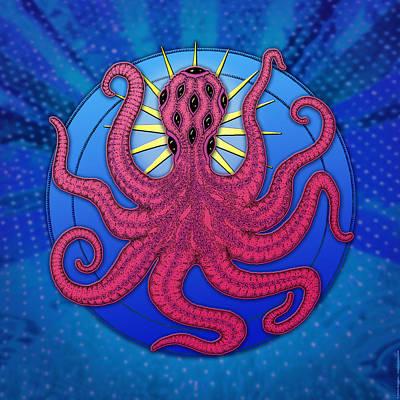 Octopus Digital Art - kuru Almighty by Peter Barreda