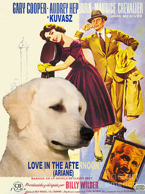 Painting - Kuvasz Art Canvas Print - Love In The Afternoon Movie Poster by Sandra Sij