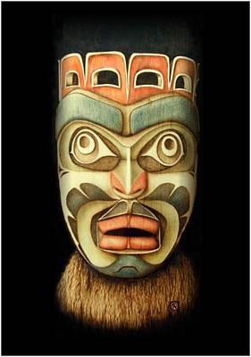 Pyrography Pyrography - Kwakiutl Free Spirit Mask by Cynthia Adams