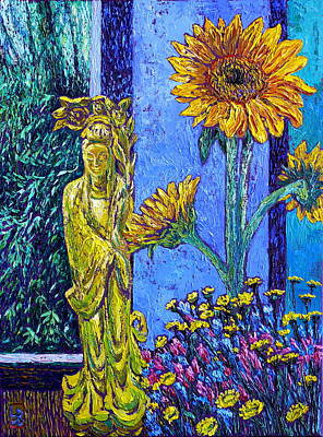 Buddhist Painting - Kwan Yin With Flowers by Linda J Bean