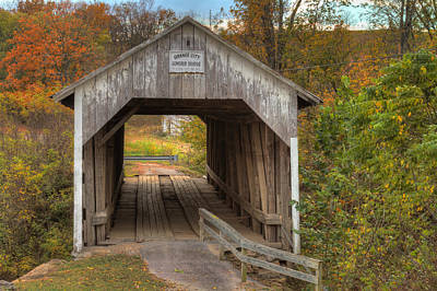 Ky Hillsboro Or Grange City Covered Bridge Art Print by Jack R Perry