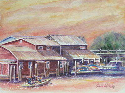 Mt. Pleasant Sc Painting - Kyaks On Shem Creek by Pamela Poole