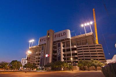 Texas A And M Digital Art - Kyle Field Blue Hour by Linda Unger