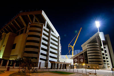 Stadium Digital Art - Kyle Field Construction by Linda Unger