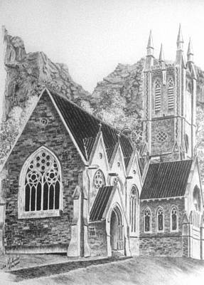 Tourist Attraction Drawing - Kylemore Abbey Gothic Chapel by Jimmy McAlister