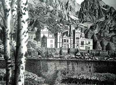 Tourist Attraction Drawing - Kylemore Abbey by Jimmy McAlister