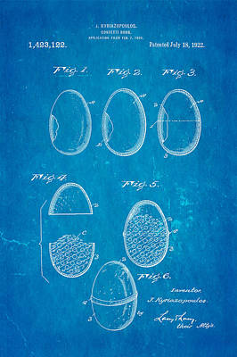 Kyriazopoulos Confetti Bomb Patent Art 1922 Blueprint Print by Ian Monk
