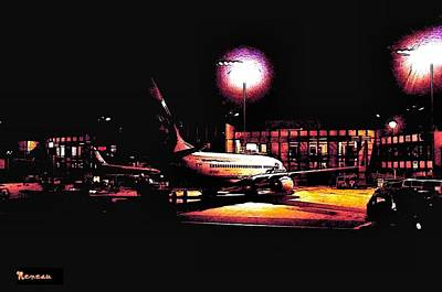 Photograph - L A X California Airport At Night by Sadie Reneau