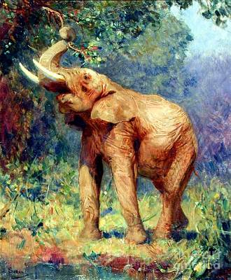 Fauna Painting - L' Elephant by Pg Reproductions
