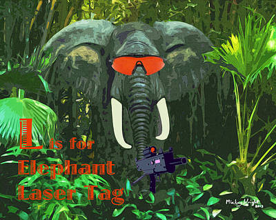 Digital Art - L Is For Elephant Laser Tag by Mickey Wright