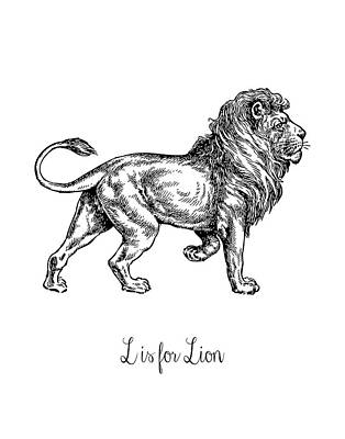 Lion Illustrations Painting - L Is For Lion by Tara Moss