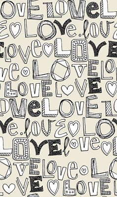 Quirky Drawing - l o v e LOVE ivory white by Sharon Turner
