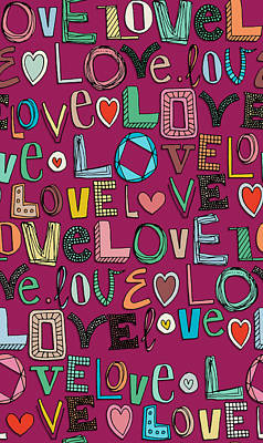 Typography Drawing - l o v e LOVE pink by Sharon Turner