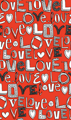 Quirky Drawing - l o v e LOVE red white by Sharon Turner