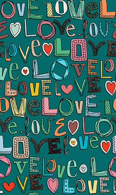 Quirky Drawing - l o v e LOVE teal by Sharon Turner