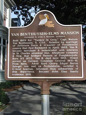 La-014 Van Benthuysen-elms Mansion Print by Jason O Watson