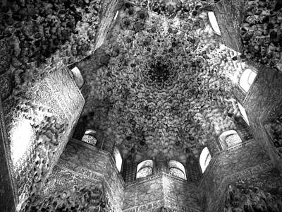 Photograph - la Alhambra Ceiling and Windows BW - Grenada Spain by Jacqueline M Lewis