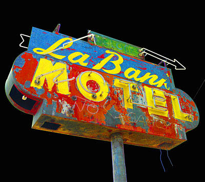 Photograph - La Bank Motel - Black by Larry Hunter