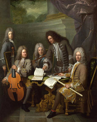 Musician Framed Painting - La Barre And Other Musicians by Andre Bouys