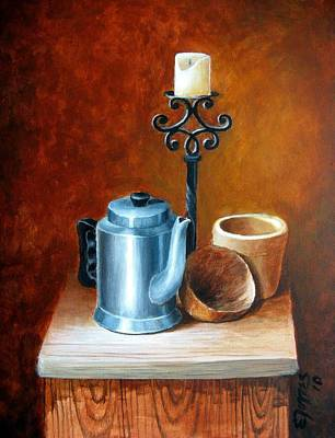 Candle Stand Painting - La Cafetera by Edgar Torres
