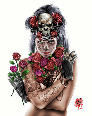 Roses Drawing - La Calavera Catrina by Pete Tapang