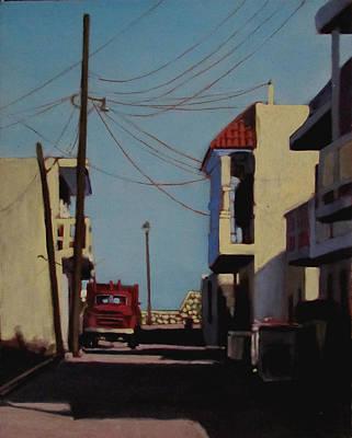 Cancun Painting - La Camioneta Rojo by David Zimmerman