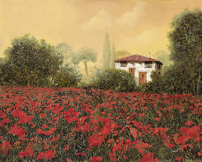 Close Up Painting - La Casa E I Papaveri by Guido Borelli