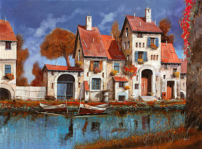 Abstract Ink Paintings In Color - La Cascina Sul Lago by Guido Borelli