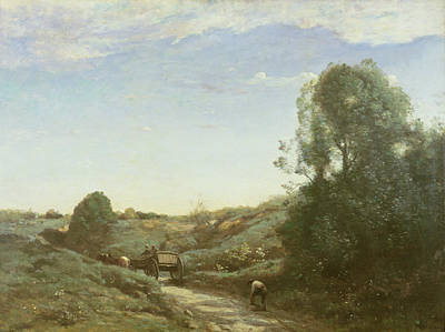 Horse And Wagon Photograph - La Charette, Memory Of Marcoussis Oil On Canvas by Jean Baptiste Camille Corot
