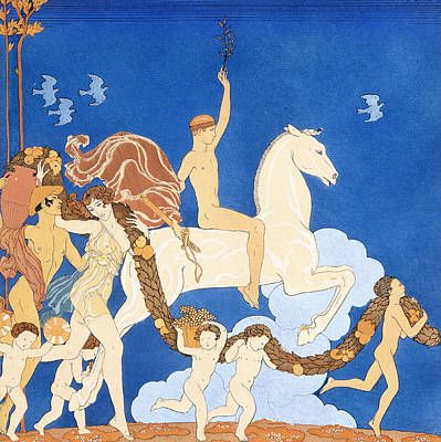 Horseman Drawing - La Cheval Blanc by Georges Barbier