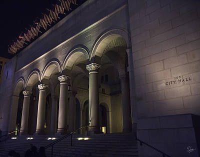 Photograph - La City Hall At Night by Endre Balogh