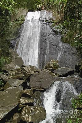 Digital Art - La Coca Falls El Yunque National Rainforest Puerto Rico Prints Cutout by Shawn O'Brien