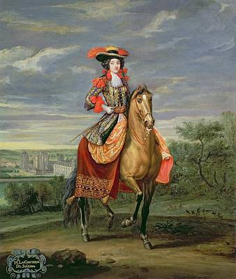 La Comtesse De Soissons Riding With A View Of The Chateau De Vincennes Oil On Canvas Art Print by Jean-Baptiste Martin