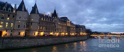 Paris Skyline Royalty-Free and Rights-Managed Images - La Conciergerie in Paris France by Barbara Chase