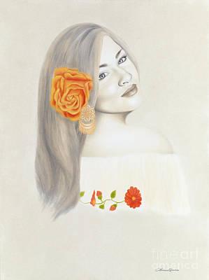 Gold Earrings Painting - La Diva by Lorena Rivera