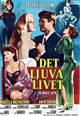 Fellini Photograph - La Dolce Vita, Swedish Poster Art by Everett