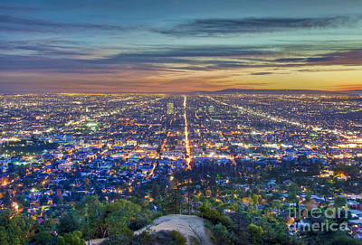 Photograph - L.a. Fiery Sunset Cityscape Skyline 3 by David Zanzinger