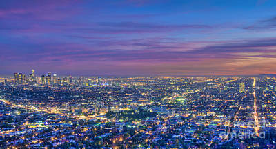 Photograph - La Fiery Sunset Cityscape Skyline by David Zanzinger