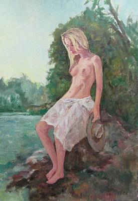 La Fille To The Pond Art Print by Alain Lutz
